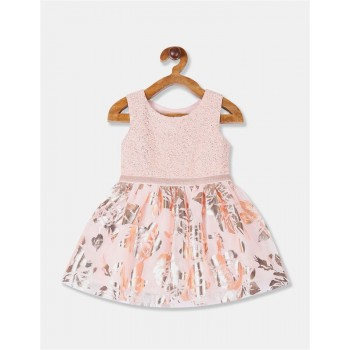 The Children's Place Toddler Girl Pink Foil Print Fit And Flare Partywear Dress