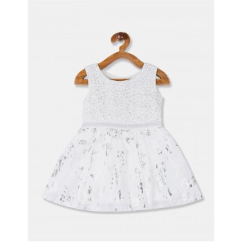 The Children's Place Toddler Girl White Foil Print Fit And Flare Partywear Dress