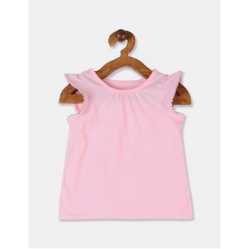 The Children's Place Toddler Girl Pink Bobble Trim Solid Top