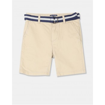 The Children's Place Boys Beige Belted Chino Shorts