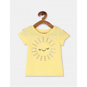 The Children's Place Toddler Girl Yellow Sleeve Slit Appliqued T-Shirt