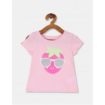 The Children's Place Toddler Girl Pink Sleeve Slit Appliqued T-Shirt