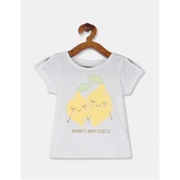 The Children's Place Toddler Girl White Sleeve Slit Graphic T-Shirt