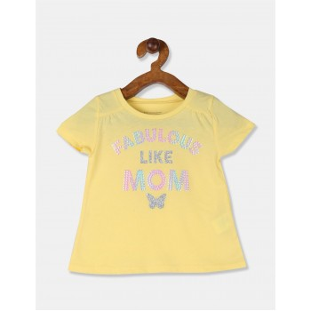 The Children's Place Toddler Girl Yellow Round Neck Graphic T-Shirt