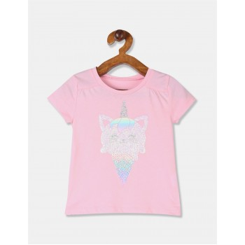 The Children's Place Toddler Girl Pink Round Neck Glitter Print T-Shirt