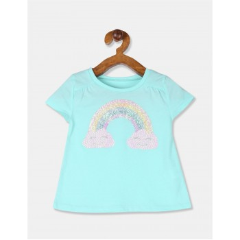 The Children's Place Toddler Girl Blue Round Neck Graphic T-Shirt