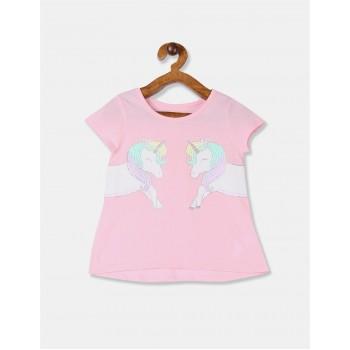 The Children's Place Toddler Girl Pink Glittery Unicorn Print Cotton T-Shirt