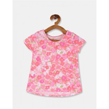 The Children's Place Toddler Girl Pink Allover Floral Print Cotton T-Shirt