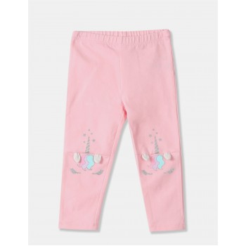 The Children's Place Girls Pink Glitter Print Knit Leggings