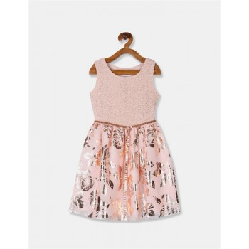 The Children's Place Girls Pink Foil Print Fit And Flare Partywear Dress