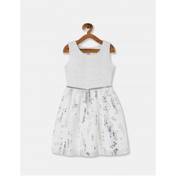 The Children's Place Girls White Foil Print Fit And Flare Partywear Dress
