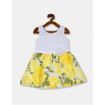 The Children's Place Toddler Girl White And Yellow Lace Bodice Printed Fit And Flare Dress