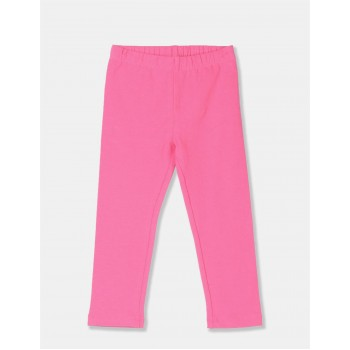 The Children's Place Girls Pink Solid Cotton Stretch Leggings