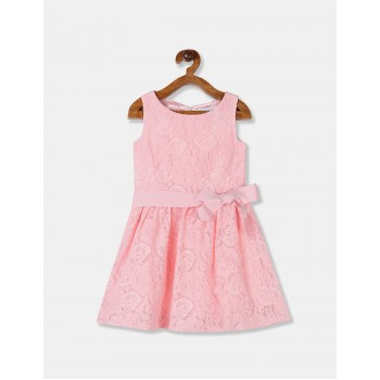 The Children's Place Girls Pink Round Neck Lace Fit And Flare Dress