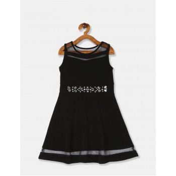 The Children's Place Girls Black Mesh Panel Embellished Partywear Dress