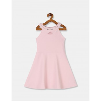 The Children's Place Girls Pink Embellished Round Neck Textured Knit Dress