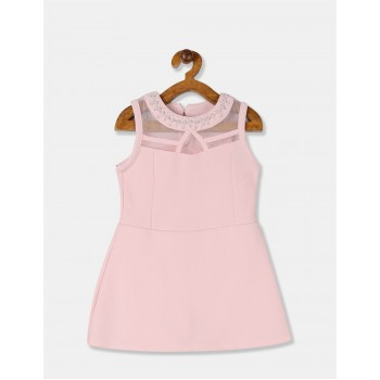 The Children's Place Girls Pink Embellished Neck Knit Romper