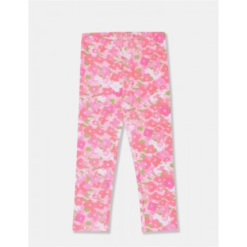 The Children's Place Girls Pink Floral Print Cotton Stretch Leggings