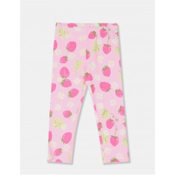 The Children's Place Girls Pink Allover Print Cotton Stretch Leggings