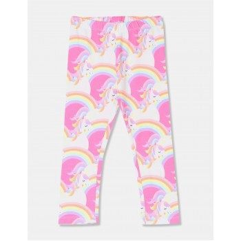 The Children's Place Toddler Girl Multi Colour Unicorn Print Cotton Stretch Leggings