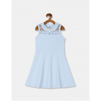 The Children's Place Girls Blue Embellished Round Neck Textured Knit Dress