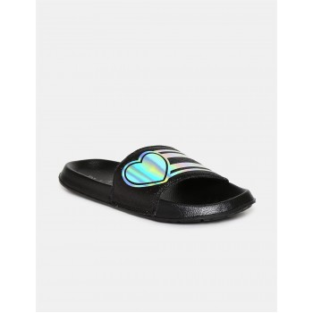 The Children's Place Girls Black Holographic Strap Open Toe Slides