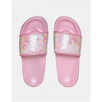 The Children's Place Girls Pink Open Toe Embellished Strap Slides