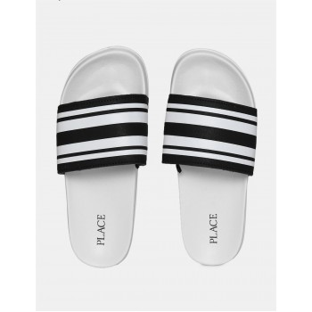 The Children's Place Boys Black And White Open Toe Striped Strap Slides