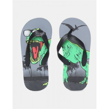 The Children's Place Boys Black And Grey V-Strap Dinosaur Print Flip Flops