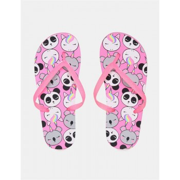 The Children's Place Girls Pink V-Strap Printed Flip Flops