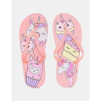 The Children's Place Girls Pink V-Strap Unicorn Print Flip Flops