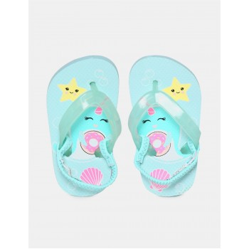The Children's Place Toddler Girl Blue Elasticized Rear Strap Printed Flip Flops