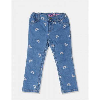 The Children's Place Girls Blue Allover Print Stone Washed Jeggings