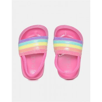 The Children's Place Toddler Girl Multi Colour Striped Forefoot Strap Slides