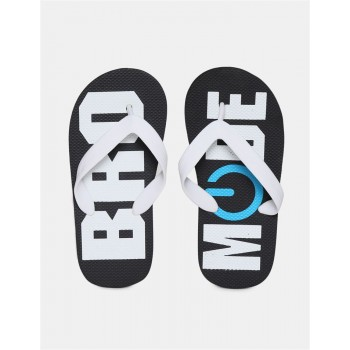 The Children's Place Boys Black And White V-Strap Printed Flip Flops