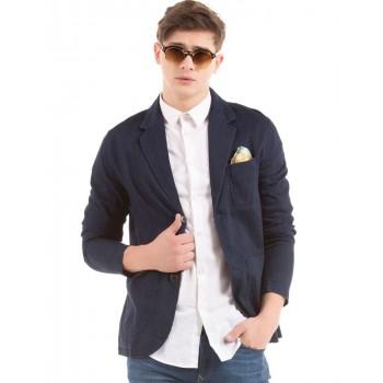 Tommy Hilfiger Men Blue Solid Casual Wear Blazer