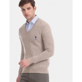 U.S. Polo Assn. Men Casual Wear Beige Sweater