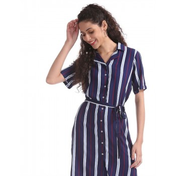 U.S. Polo Assn. Blue Striped Belted Shirt Dress