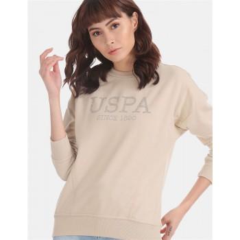 U.S. Polo Assn. Beige Embellished Sweatshirt