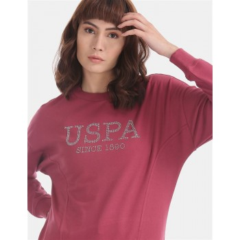 U.S. Polo Assn. Pink Panelled Embellished Sweatshirt