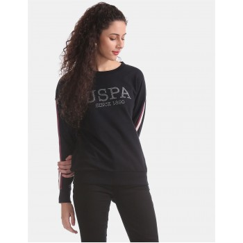 U.S. Polo Assn. Black Crew Neck Embellished Sweatshirt
