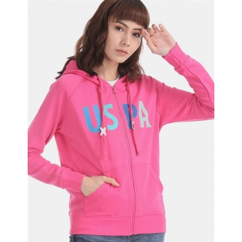 U.S. Polo Assn. Pink Raglan Sleeve Hooded Sweatshirt
