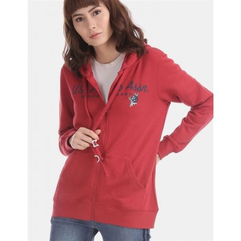 U.S. Polo Assn. Red Drawstring Hood Sweatshirt