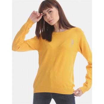 U.S. Polo Assn. Yellow Raglan Sleeve Flat Knit Sweater