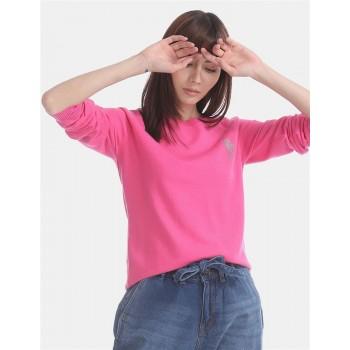 U.S. Polo Assn. Pink Raglan Sleeve Flat Knit Sweater