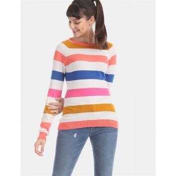 U.S. Polo Assn. Multi Colour Crew Neck Stripe Sweater
