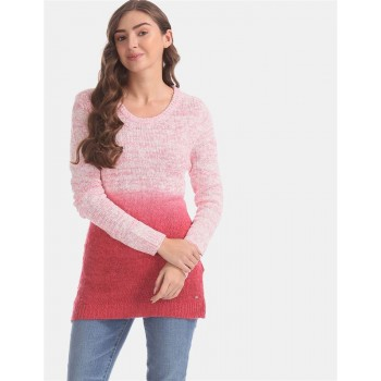U.S. Polo Assn. Pink Ombre Patterned Knit Sweater