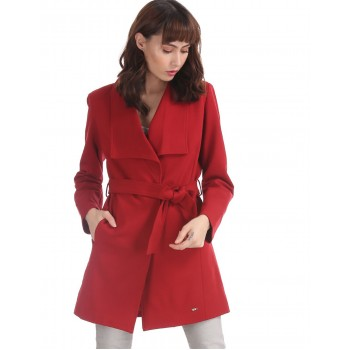 U.S. Polo Assn. Red Lapel Collar Waist Tie Trench Coat