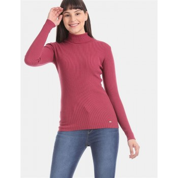 U.S. Polo Assn. Pink Turtle Neck Rib Knit Top