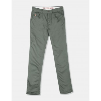 U.S. Polo Assn. Green Boys Mid Rise Solid Trousers